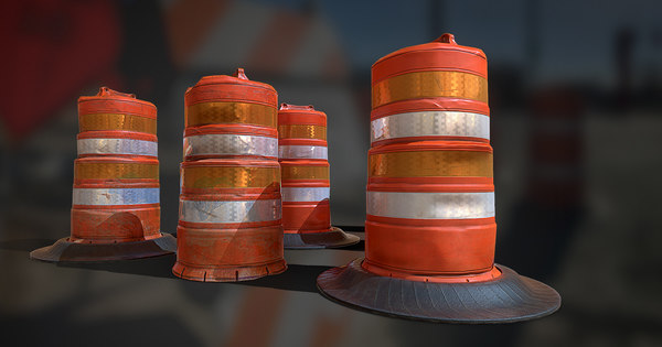 orange traffic drum barrels model