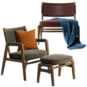 ortigia armchair chair ottoman 3D model