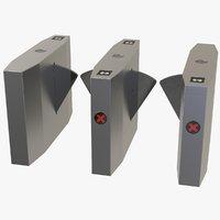 optical barriers access turnstiles 3D model