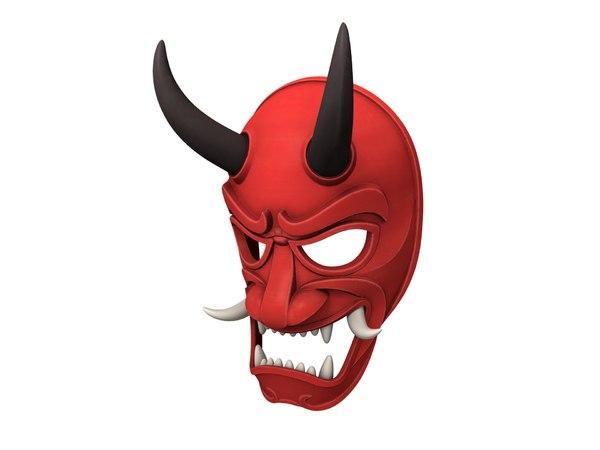 japanese demon mask 3D model