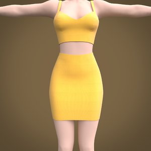pencil mini skirt crop 3D model