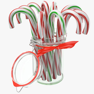 candy cane jar glass 3D model
