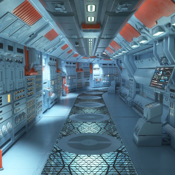 3D futuristic command center corridor model