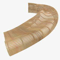 Parametric Abstract Wood Bench Like MP 4