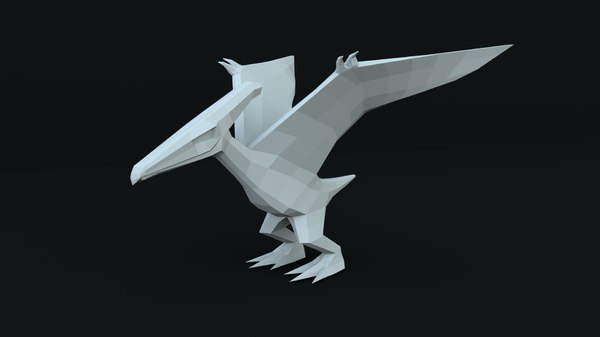 3D pterodactyl rigged model