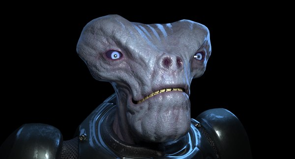 armored alien character 3D model