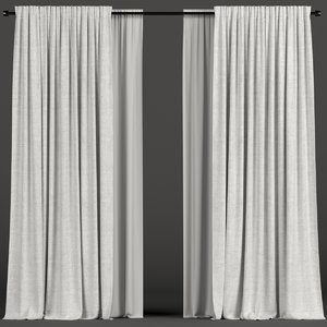 white tulle curtains 3D