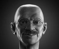 3D mahatma gandhi head model
