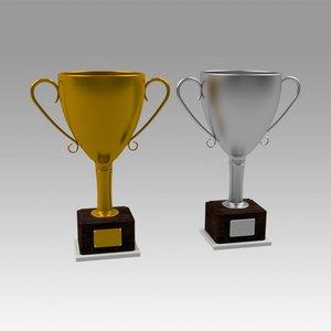 3D gold trophy model