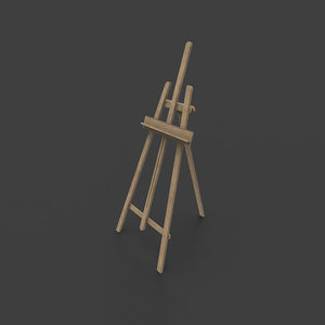 3D model easel rigged