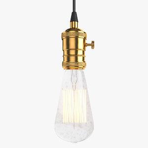 3D vintage retro light bulb