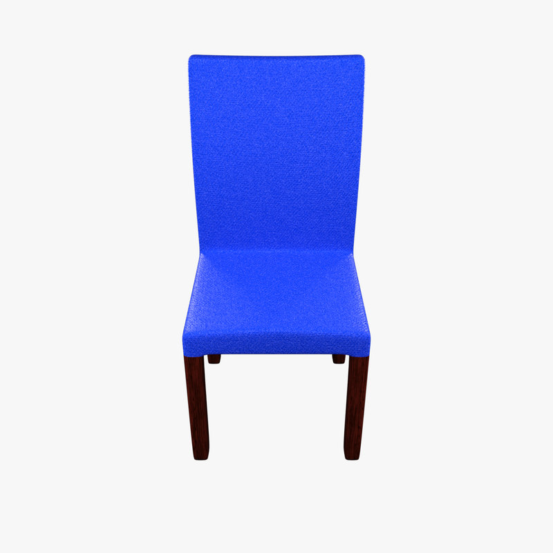 3D blue polyester chair mahogany wood
