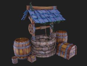 3D medieval set barrel chest