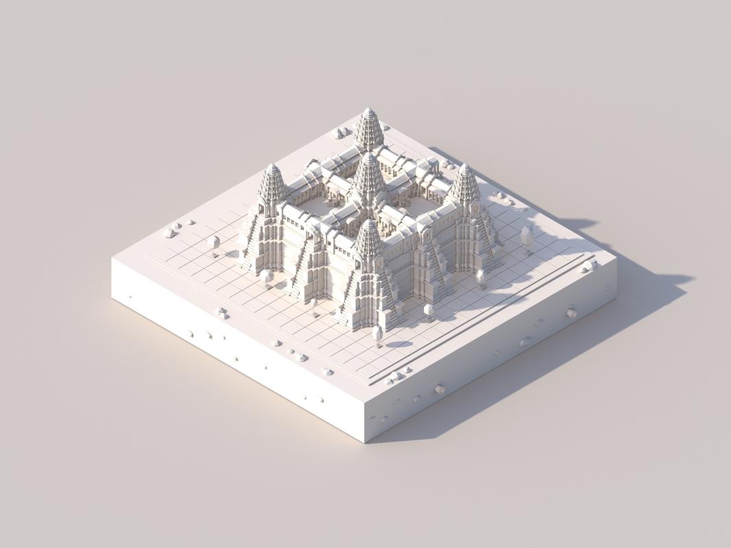 cartoon ankor wat temple 3D model