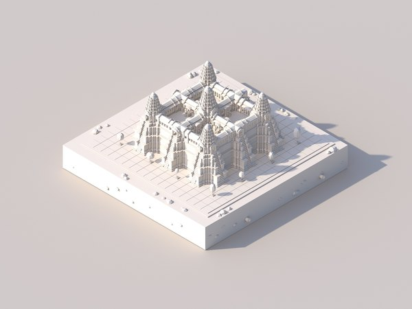 cartoon ankor wat temple 3D model