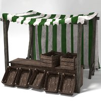 Medieval Market Stall Tent Green and White 3D Model with Crates