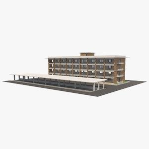 3D hotel building 1 model
