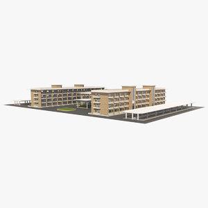 3D hotel buildings block