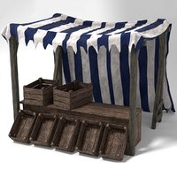 medieval market stall crates 3D model