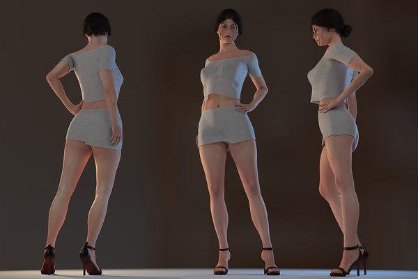 lana female rigged body woman 3D model