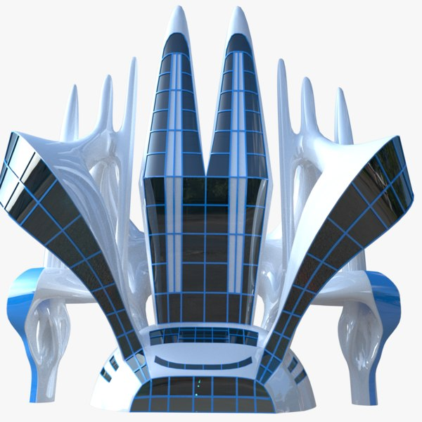 3D model futuristic building skyscraper