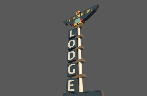 3D hotel sign lodge