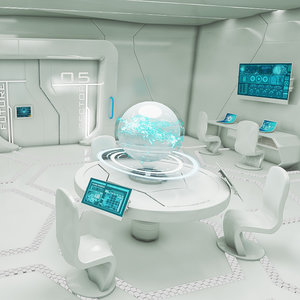 3D sci-fi control room 2 model