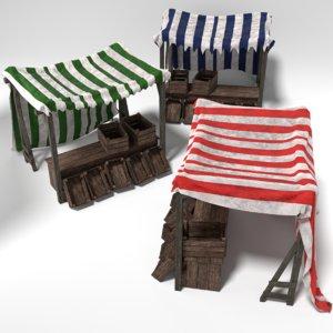 3D set medieval market stalls