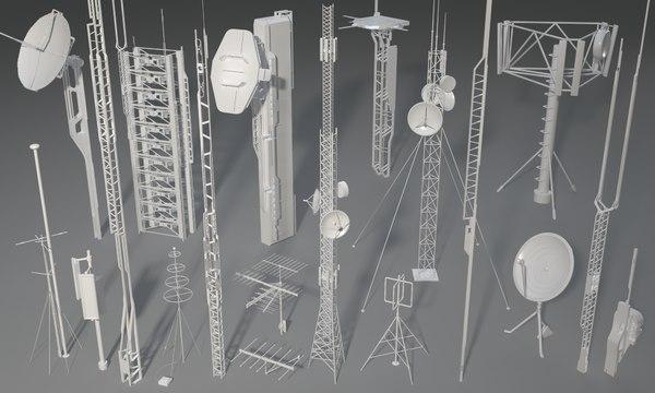 19 pieces antennas 3D