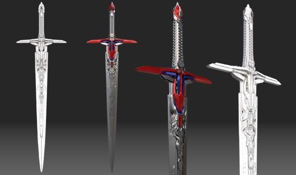 3D sword optimus prime transformers model
