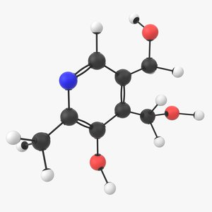 vitamin b6 pyridoxine molecule 3D model
