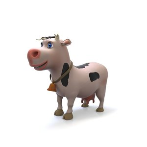 cute cartoon cow 3D model