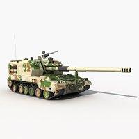 3D model china type plz05 155mm