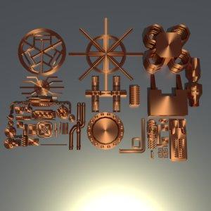3D model low-poly elements