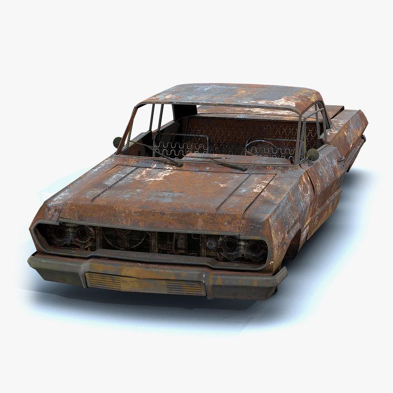 3D low-poly burnt old car model