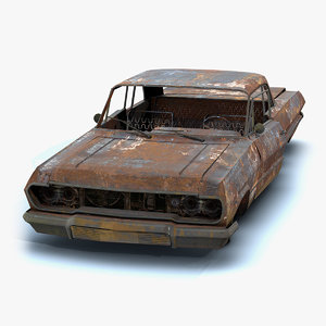 3D low-poly burnt old car model