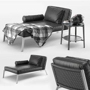 3D flexform happy chaise longue model