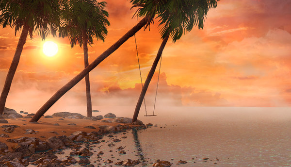 3D beach swing sunset model