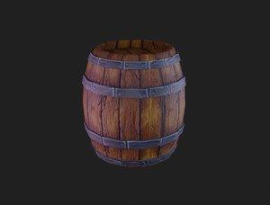 3D low-poly medieval barrel