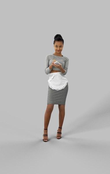 3D noting waitress woman