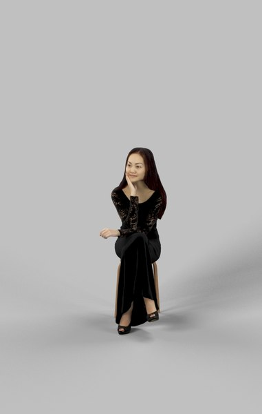 paula dress sitting 3D