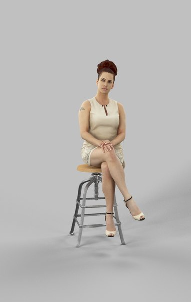 observing sitting woman 3D model