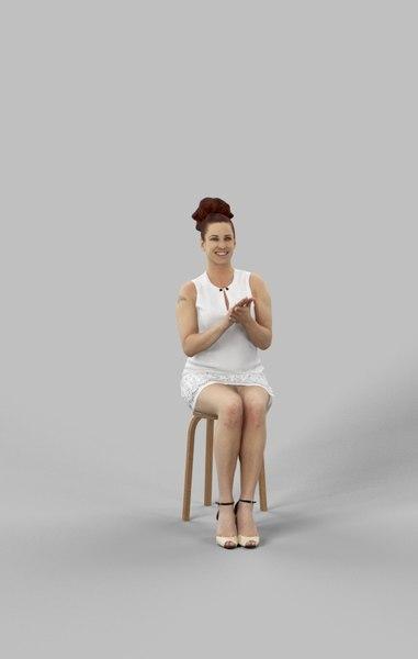 yvette dress sitting 3D model