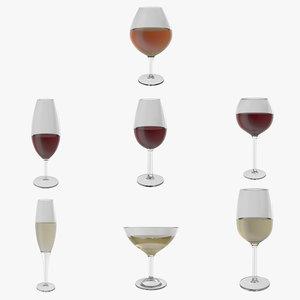 3D seven wine glasses champagne flute model
