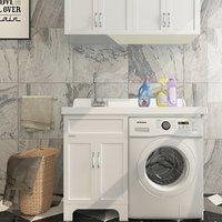 Set for bathroom (Samsung EcoBubble WF702W0BDWQ, laundry basket, sink, towel, carpet, etc.)