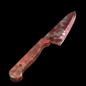 butcher knife old wooden 3D model