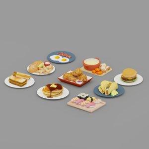 3D model food burger pancake