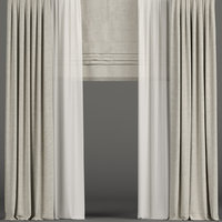 3D curtains tulle beige
