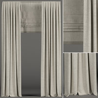 curtains beige roman 3D model