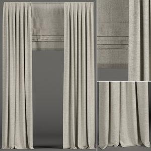 curtains beige roman 3D model